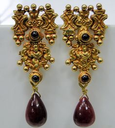 Vintage antique 22ct gold earrings with ruby gemstones by Amrapali