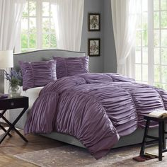 Purple comforter sets in various styles, prints and sizes. There is a purple comforter set for everyone. Purple And Grey Bedding, Plum Bedding, Purple Comforter, Queen Comforter Sets, Kohls Bedding, Bedding Decor, Purple Gray, Purple Bedrooms, Gray Bedroom