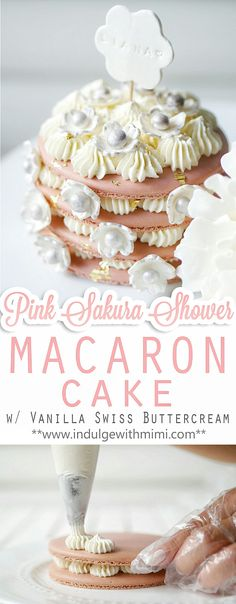 Pink Bridal or Baby Shower macaron cake with cherry blossom decorations