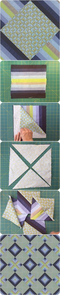 Scrappy Half Square Triangle block and quilt design. Easy and quilt block.
