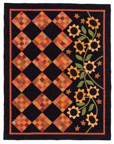 'Tis the Autumn Season - Fall Quilts and Decorating Projects by Jeanne Large, Shelley Wicks. Would love this just with the orange on black without the appliqué. Fall Quilts, Scrappy Quilts, Mini Quilts, Wool Applique, Applique Quilts, Quilting Projects, Quilting Designs, Quilting Ideas, Fall Sewing Projects
