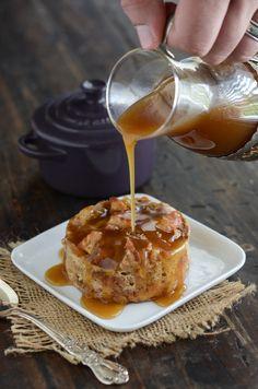 Donut Bread Pudding with Rum Sauce recipe via www.thenovicechefblog.com