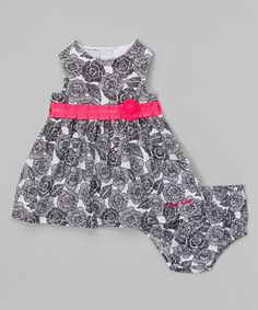 Another great find on #zulily! Black & White Floral A-Line Dress & Diaper Cover - Infant by Calvin Klein Jeans #zulilyfinds