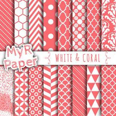 """With Love By MyRpaper #patterns #design #graphic #paperdesign #papercraft #scrapbooking #digitalpapers Coral Digital Paper: """"White & Coral"""" Digital Paper Pack and Backgrounds with Chevron, Damask, Triangles, Stripes and Polka Dots  HELLO AND WELCOME TO MY SHOP  These digital..."""