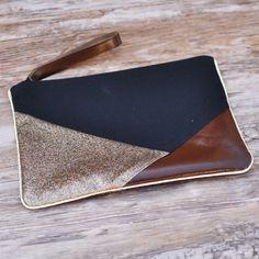 Pochette de soirée géometrique noire et marron glitter anse cuir