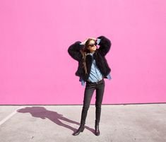 Vintage ostrich coat(faux fur option here), Sun Buddies sunglasses, Zara jeans(another here), Coclico boots, vintage chambray shirt.