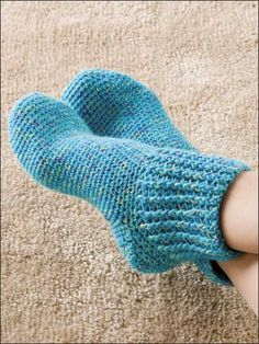 Slip on a pair of these rib cuffed socks at the end of a long day and relax! Made with size light worsted weight yarn and size F hook. Size: Woman's shoe size 6-7 (small), 8-10 (medium) & 12-14 (large).Skill Level: Intermediate