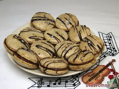 Sweet Christmas delicacy :) - viennese walnut mini rings stuffed with butter chocolate cream. Christmas Biscuits, Christmas Cookies, Chocolate Cream, Melting Chocolate, Cooking Chocolate, Chocolate Decorations, Russian Recipes, Cream Recipes, Bon Appetit