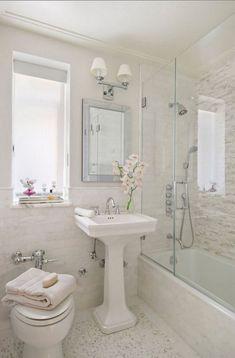 75 Beautiful Small Bathroom Shower Remodel Ideas - Page 9 of 76 Small Bathroom With Shower, Natural Bathroom, Modern Bathroom, Master Bathroom, Pedestal Sink Bathroom, Bathroom Bench, Narrow Bathroom, Bathroom Grey, Bathroom Showers