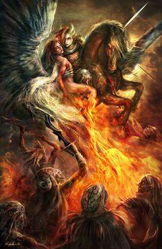 Celestial Brothers by Kirsi Salonen Dark Fantasy Art, Fantasy Demon, High Fantasy, Fantasy Girl, Dark Art, Fantasy Creatures, Mythical Creatures, Elfa, Ange Demon