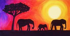 Elephant Silhouettes - Aveline Daniel Art. Cute! :)