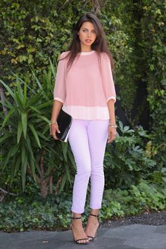 A HINT OF GLINT J Brand mid-rise skinny jeans in soft lilac, Ted Baker micro pleat Emmii top, 3.1 Phillip Lim Minute clutch,  Asos spike stretch bracelet, also loving this one, Zara laminated high wedge April 9, 2012