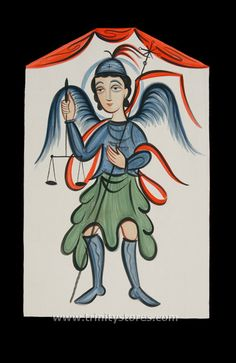 """St. Michael Archangel   Catholic Christian Religious Art - Retablos by Br. Arturo Olivas, OFS - From your Trinity Stores crew, """"St. Michael pray for us!"""" Native American Ancestry, The Better Angels, Roman Centurion, Pueblo Indians, Angel Warrior, New Mexican, Saint Michel, Mexican Artists, Folk Dance"""