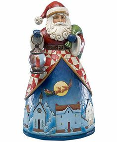 Jim Shore Collectible Figurine, Santa Up Over the Village