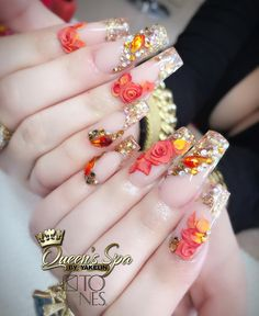 cute nail art designs can reflect the bright, cheerful summer. These 15 ideas will inspire you. Glam Nails, Dope Nails, Bling Nails, 3d Nails, Bling Wedding Nails, Cute Nail Art Designs, Beautiful Nail Designs, Acrylic Nail Designs, Fabulous Nails