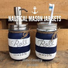 Painted Mason Jar. Bathroom Decor. Home by WineCountryAccents
