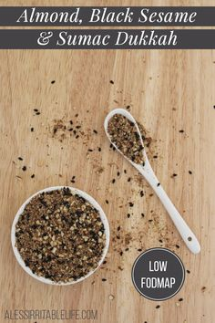 Almond, Black Sesame and Sumac Dukkah {low FODMAP, gluten-free, dairy-free} - A Less Irritable Life Fodmap Recipes, Gluten Free Recipes, Low Fodmap, Low Carb, Dukkah Recipe, Healthy Food, Yummy Food, Dry Rubs, Homemade Spices