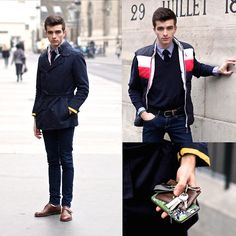 Trench Coat, Navy Sweater, Knitted Tie, Montblanc Card Holder, Buckled Shoes, Vicomte A Striped Padded Jacket, Indigo Skinny Jeans, Shirt