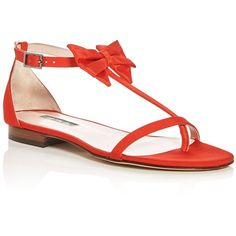 Sjp by Sarah Jessica Parker Tots Grosgrain T-Strap Bow Sandals ($185) ❤ liked on Polyvore featuring shoes, sandals, poppy red, sjp, red shoes, red bow sandals, sjp shoes and red sandals