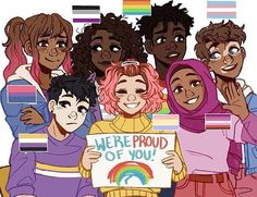 Let's Go Lesbians!: Photo Pride Month is here! These are my Pride Ocs which are based off of a few (but obviously not all) Pride flags. Hope you all have a lovely month Lgbt Memes, Pansexual Pride, Gay Aesthetic, Aesthetic People, Gay Art, Gay Pride, Cute Art, Kawaii, Funny