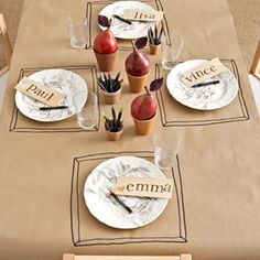 Brown paper table setting. Drawn on placemats and name-tags. OMG TO DIE FOR!!!