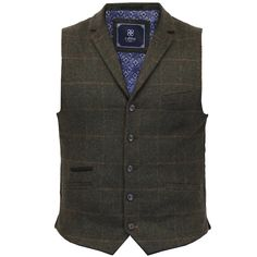 Mens-Waistcoat-Wool-Mix-Cavani-Formal-Vest-Herringbone-Tweed-Check-Party-Smart