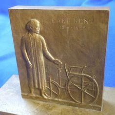 Carl-Benz-Denkmal-Mannheim-1933-Bronzeminiatur-Original-von-1933