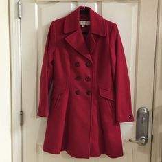 Final: NWOT Trina Turk Lambwool Cashmere Coat New without Tag Trina Turk 80% Lambswool and 20% cashmere charming red color coat. I lost significant weight dropped from size 8 to 4 could not enjoy this beautiful coat this winter. You may pay $500 to have Posh concierge free validate the originality of $685 of Trina Turk or offer me a fair price. Just enjoy this beautiful warm coat for me this winter! Trina Turk Jackets & Coats Pea Coats