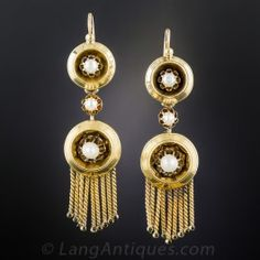 French Antique Pearl Fringe Earrings