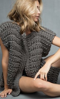 Free Knitting Pattern for Easy 4 Row Repeat The Cheryl Vest - Quick and easy vest knit in 3 rectangles of a 4 row repeat using super bulky yarn. Designed by The Third Piece Design Team. Rated easy by Ravelrers.