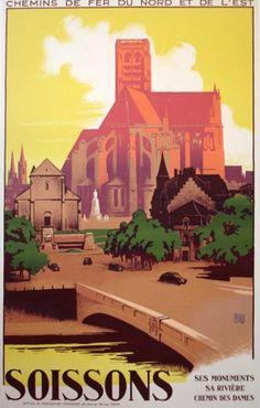 Poster Soissons Chemin de Fer du Nord 1936 Charles Alo