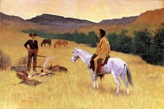 Image detail for -The Parley - Frederic Remington - Oil Painting Reproduction
