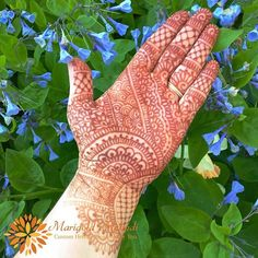 I'm really happy with my 18 hr stain. The henna paste was left on for 1 hour prior to me getting too antsy. I especially like the stain against the beautiful backdrop of Virginia bluebells.  Full palm henna design inspired by @hennatrendz ---------------------------------------------------- Visit and like my Facebook page at: www.facebook.com/marigoldmehndi  See more henna on my website: www.marigoldmehndi.com  Visit my Etsy shop to purchase your own henna cones and candles…
