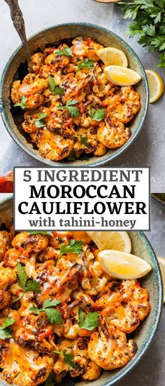 Moroccan Cauliflower with Tahini-Honey is a 5 ingredient side with fiery flavor and a sweet sesame finish. Great for entertaining or easy weeknight dinner. Vegetarian Dinners, Vegan Dinner Recipes, Side Dish Recipes, Vegetable Recipes, Whole Food Recipes, Vegetarian Recipes, Cooking Recipes, Healthy Recipes, Budget Cooking