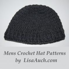 Easy Mens Crochet Hat Pattern  FREE. Chunky fashionable beanie style crochet hats for men. Perfect head wear this season, for the fashion conscious...
