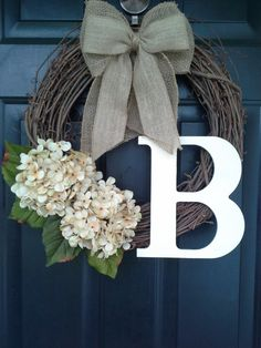 Front door wreath,door wreath, fall wreath, monogram wreath, hydrangea wreath, burlap wreath, grapevine, french country, burlap bow