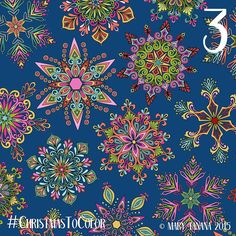 """Mary Tanana~Licensed Artist (@groovity) on Instagram: """"My snowflakes come in a variety of colors... #ChristmasToColor #advent Day 3"""""""