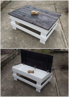 Creative Ideas for Recycled Wood Pallets Recycled Pallet Table with Storage The post Creative Ideas for Recycled Wood Pallets appeared first on Pallet Diy. Wooden Pallet Projects, Wooden Pallet Furniture, Pallet Crafts, Wooden Pallets, Wooden Diy, Diy Furniture, Pallet Ideas, Pallet Wood, Simple Wood Projects