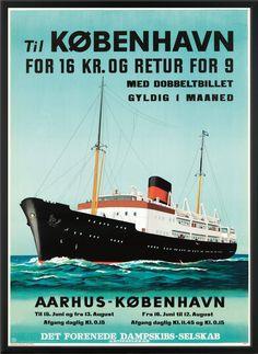 Poster, DFDS Aarhus - Copenhagen, inc. William Ellis, Claude Monet, Dreamworks, Old Posters, Denmark Travel, Tourism Poster, Vintage Boats, H & M Home, Bus Travel