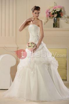 Aラインストラップレス刺繍チャペルトレーンオーガンザウェディングドレス