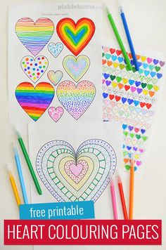 These free printable heart colouring pages are a fabulous Valentines activity to do with the kids, or print them out for a fun and easy activity any time.  #freeprintablesforkids #coloringpages #valentinesdayart