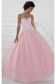 2015 Gorgeous Sweetheart Tulle Ball Gown Pink Long Prom Dresses