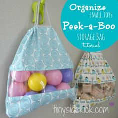 Toy Storage Solution {Peek-a-Boo Storage Bags Tutorial} This is the best way to store all those small toys and legos and the kids can still see what is inside and open the bags themselves! #smalltoystorage #organize