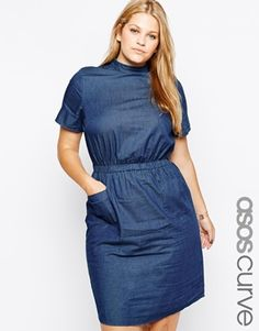 ASOS CURVE T-Shirt Pocket Dress in Denim With High Neck