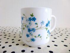 Vintage Arcopal Veronica Mugs Milk Glass by ForestHillsVintage