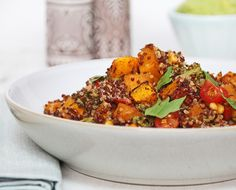 Roasted Squash and Pine Nut Quinoa - instead of squash aubergine maybe Clean Recipes, Veggie Recipes, Whole Food Recipes, Vegetarian Recipes, Cooking Recipes, Healthy Recipes, Healthy Treats, Quinoa Dishes, Vegan Dishes