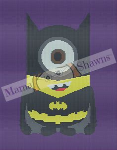 Bat Minion Inspired Fan Art, Graphghan Pattern, Written Pattern, Crochet Pattern, Minion, Batman, Superhero, Despicable Me, PDF Download Gru by MamaShawns on Etsy