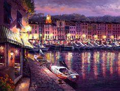 "Sam Park's ""Night View of San Tropez"" Limited Edition Giclee on Canvas - x Artist Biography, Park Art, European Paintings, Artist Portfolio, Park Homes, Korean Artist, South Of France, Paris, Community Art"