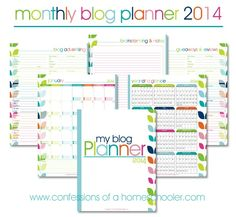 Free 2014 Monthly Blog Planner