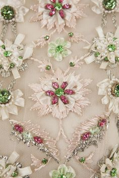 Maison Lesage for Christian Dior, Swarovski Crystal & Ribbon Floral Embroidery Tambour Beading, Tambour Embroidery, Couture Embroidery, Embroidery Fashion, Ribbon Embroidery, Embroidery Designs, Floral Embroidery, Bordados Tambour, Couture Embellishment